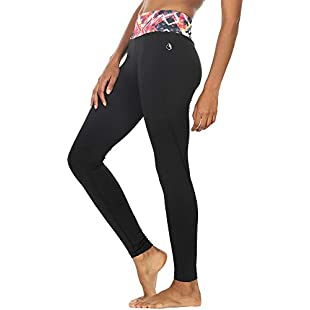 icyzone® Activewear Women Running Pants Yoga Workout Leggings Slim Fitted Tights (Large, Prismatic)