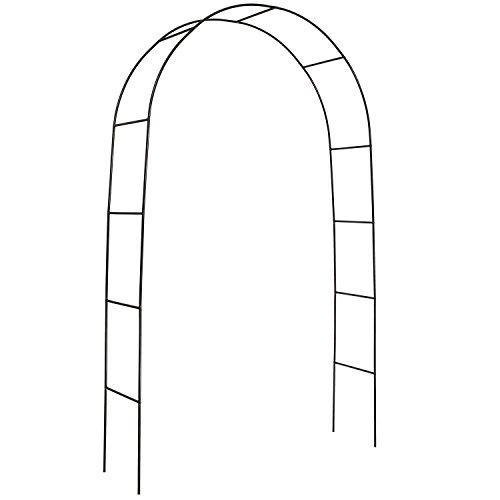 DOEWORKS Metal Black Garden Arch with Round Top, 7'9'' High x 4'7''Wide