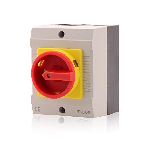 Hauptschalter Leistungsschalter 25A, IP 65, 4-polig im Gehäuse, Drehschalter für alle industriellen Anforderungen