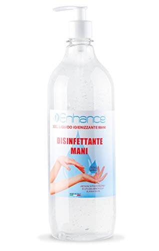 Gel igienizzante mani Enhance Flacone Gel per le Mani ENHANCE 1000 ML 1 litro Alcool 70% per Dispenser Igienizzante Antibatterico Profumo Aloe Vera e lime Contro il 99% di Germi e Batteri 1 Lt