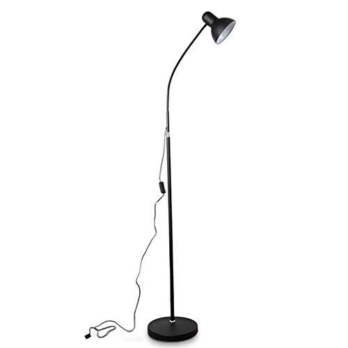 - Staande lamp staande lamp LED Fill-licht warm helder woonkamer study eenvoudige werk piano lezen ijzer Amerikaanse vloerlamp zwart gebogen