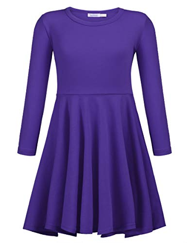 Arshiner Girls' Cotton Long Sleeve Twirly Skater Party Dress, Purple, 11 Years