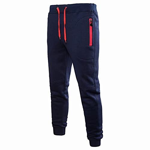 BGUK Pantalones de deporte para hombre, de algodón, ajustados, para el tiempo libre, para correr, para correr, para ir a la calle, color negro, plateado, gris, azul marino, tallas M-3XL, marine, XXL