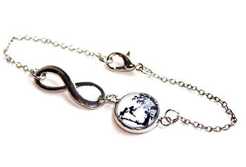 CHRISTMAS SALE – Große und kleine Schwester Schaukel - Freundschafts Scherenschnitt Infinity Armband silber,16-17cm, handmade, ein süßes Geschenk für die liebste Schwester oder beste Freundin