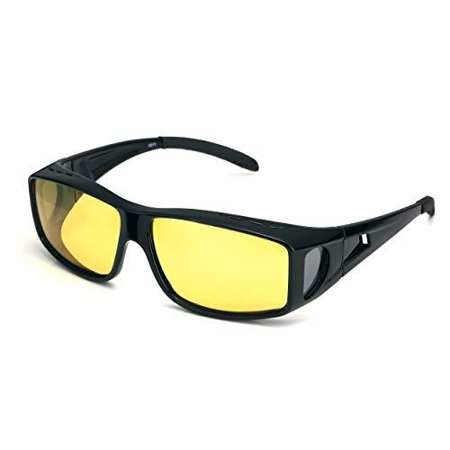 LVIOE Gafas de conducción nocturna polarizadas de estilo envolvente para usar sobre gafas recetadas (Negro/Amarillo)