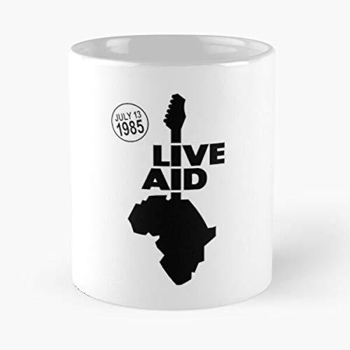 Live Aid 1985 - Taza de café de cerámica de mármol blanco de 11oz