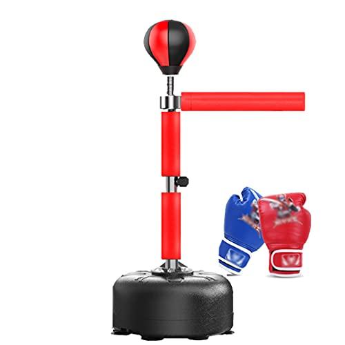 TYX Saco de Boxeo para Niños con Barra Reflectante de 360 °, Bola de Velocidad de Boxeo Ajustable En Altura con Base de Ventosa Y Guantes, Bolsa Reflectante para Fitness Infantil,Rojo