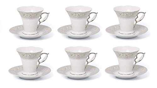 "Joseph Sedgh ""Mid-Century French"" Collection - 12 PIECE SET - Classic Coffee, Espresso, Cappuccino Cups - Ideal for Weddings, Engagements and Parties (Silver Trim)"