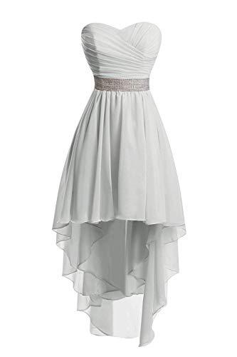 JAEDEN Ballkleider Damen Brautjungfernkleid Hochzeit Partykleid Herzausschnitt Abendkleid Vorne Kurz Hinten Lang Silber EUR32