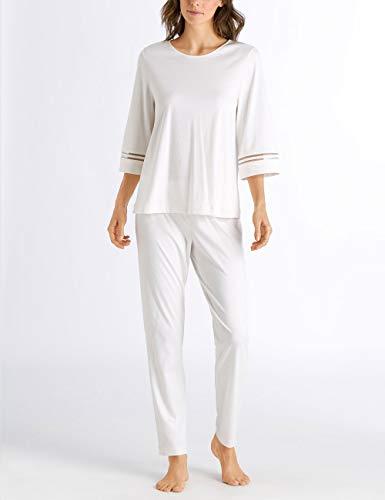 Hanro Damen Ilona Pyjama 3/4 Arm Zweiteiliger Schlafanzug, Weiß (Off White 070102), 36 (Herstellergröße: XS)