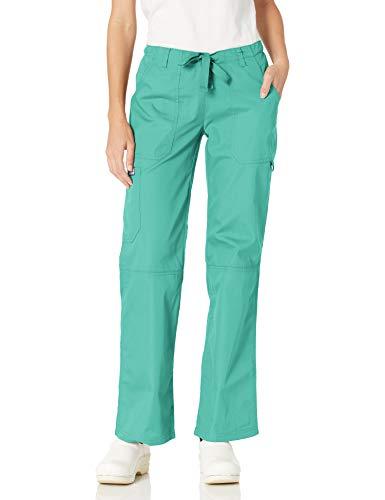 Cherokee Women's Low Rise Drawstring Cargo Scrub Pant, Surgical Green, XX-Large
