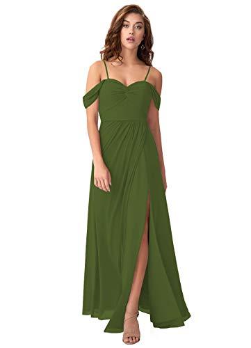 Lover Kiss Juniors Olive Green Off Shoulder Bridesmaid Dresses with Slit Long Chiffon Wedding Formal Evening Dress Olive Green