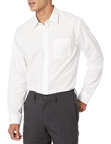 Amazon Essentials Men's Regular-Fit Wrinkle-Resistant Long-Sleeve Solid Dress Shirt, White, 17.5' Neck 34'-35' Sleeve