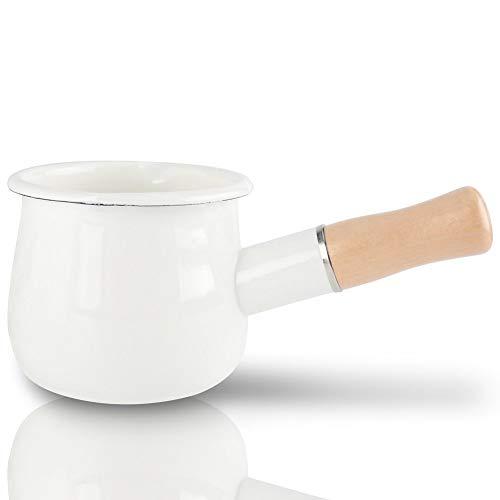 Lopbinte Pentola per Latte Smaltato, Scaldabagno 10Cm Pentole per Pentole Smaltate con Manico in Legno, Dimensioni Perfette per Riscaldare Porzioni di Liquidi più Piccole. (Bianca)
