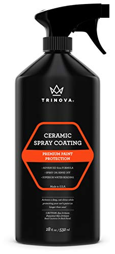 TriNova Ceramic Spray Coating - SiO2 Hydrophobic Hybrid Sealant for Car, Truck, & Motorcycle - Ultimate Wax Substitute, Protection for Paint, Wheels, Glass & More 18 oz