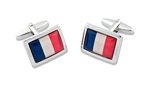 Sologemelos - Boutons De Manchette Drapeau Français - Bleu, Rouge, Blanc - Hommes - Taille Unique