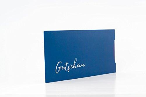 10 Stk. Gutscheinkarten + Pappschuber, Geschenkgutschein Geburtstagsgutschein Gutschein (blau)