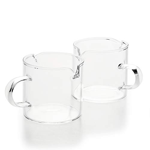 Shot Glasses Espresso Parts Double Spouts Milk Cup Clear Glass (Clear Glass-2Pack)
