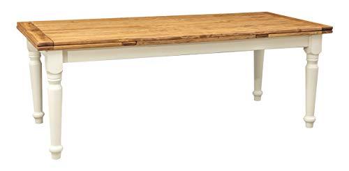 Biscottini Table Extensible en Bois Massif de Tilleul – Style Country – Style Shabby – Structure Blanche vieillie Plan Naturel L 220 x P 100 x H 80 cm