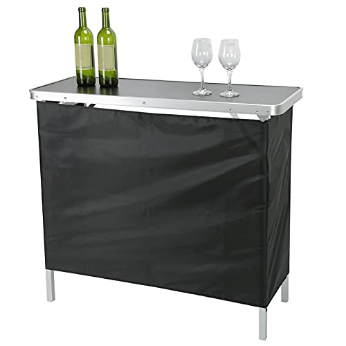 Bar Table, Portable Folding Bar Table, Rectangular High Top Bar with Table Carrying Case and Storage Shelf for Indoor Outdoor Party, Picnic, Tailgate, Entertaining 38x97x88cm