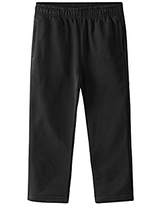 Spring&Gege Kids' Active Fleece Jogger Pants Open Bottom Sweatpants with Pockets, Black, X-Small