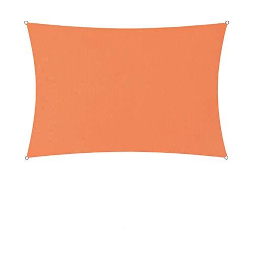 Lumaland Sonnensegel inkl. Befestigungsseile - Rechteck 3 x 4 Meter - 160 g/m² Polyester mit doppelter PU-Beschichtung - UV-Schutz 30+, wasserabweisend, atmungsaktiv, wetterbeständig - Orange