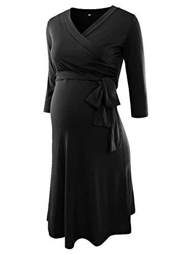 Liu & Qu Women's V-Neck 3/4 Sleeve Front Tie Nursing Baby Shower Wrap Maternity Dress