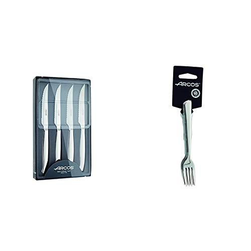 Arcos 378400 - Juego de cuchillos chuleteros, 110 mm (4pzs) + Toscana - Juego de tenedores de almuerzo, 140 mm, 6 piezas (6piezas)