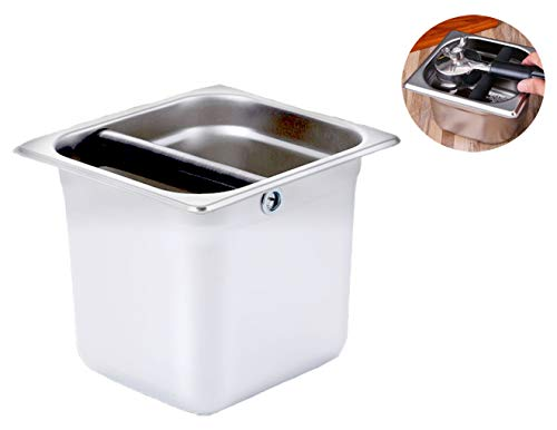 Roestvrij stalen koffie Espresso Knock Box Shock-Absorbent Knockbox Koffiemachine Dump Bin Keuken Tool voor Home Cafe Bars 6 inch