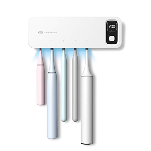 StarWin Toothbrush Sanitizer and Holder,5 Slots Sterilizing and Fan Drying Function Toothbrush Holder Wall Mounted, Drill-Free UV Toothbrush Sterilizer Bathroom Toothbrush Holder for Family