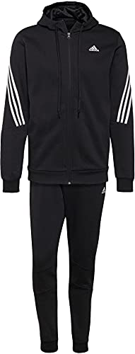 adidas MTS Cot Fleece Tracksuit, Black/White, 2XL Mens