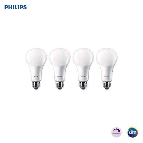 Philips LED Dimmable A21 Soft White Light Bulb with Warm Glow Effect 1600-Lumen, 2700-2200-Kelvin, 18-Watt (100-Watt Equivalent), E26 Base, Frosted, 4-Pack