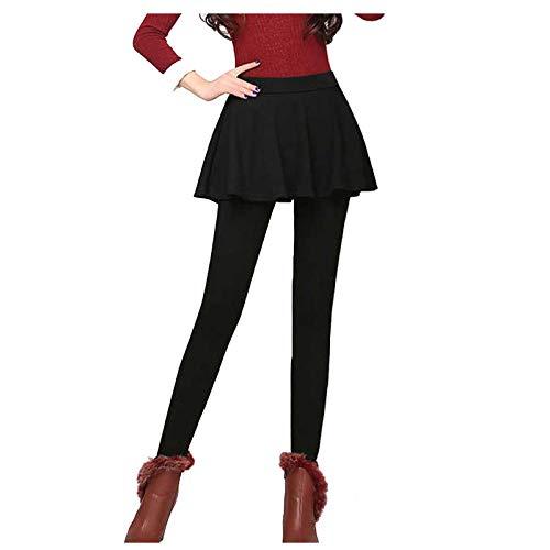 Generic Legging Hanche Doublé Polaire Femme Hiver Super épais Chaud en Velours Extensible,Legging Femme avec Jupe A-Line Jupe,Faux Deux Pantalon Jupe Collant Legging Femme Grande Taille Sport Noir