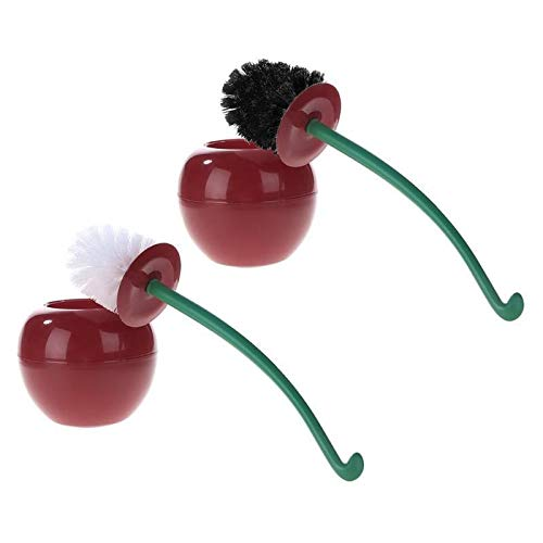 ZhenHe Mango Lindo Cherry de Forma Cepillo de Dientes Titular de Ajuste de baño Kit de Limpieza de WC hogar del Limpiador de cepillos Antideslizante Cerdas Suaves, densas, largas, fáciles de Limpiar.