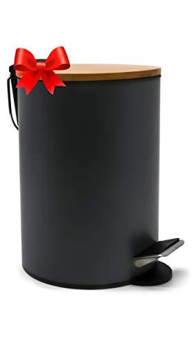 ZenMorning Poubelle Salle Bain, Poubelle Bureau by Poubelle Bureau au Design Élégant, Couvercle en Bambou Silencieux - Finition Gris Mat Anti-Tâches, 3L, ⌀ 17cm x H. 24cm