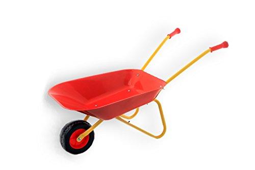 Fun Play Kinder Schubkarre Gartenspielzeug & Sandspielzeug Robustes Metall Blech stabile Griffe Gummi ummantelt (rot)