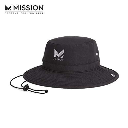 "MISSION Cooling Bucket Hat- UPF 50, 3"" Wide Brim, Cools When Wet- Black"