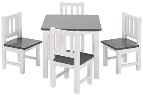 BOMI Kinderecke Wartezimmer | 4 Stühlchen Baby mit Tisch Amy aus Kiefer | Massiv Holz | Zeitlose Tischgruppe für das Kinderzimmer | Grau Weiß
