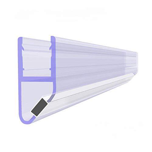 BIJON Magnet-Duschdichtung (Einteilig), Duschtürdichtung mit weißen Magneten, Dichtung Dusche Glastür für 45 Grad, 200cm, Glasstärke Duschdichtung 5mm - 6mm