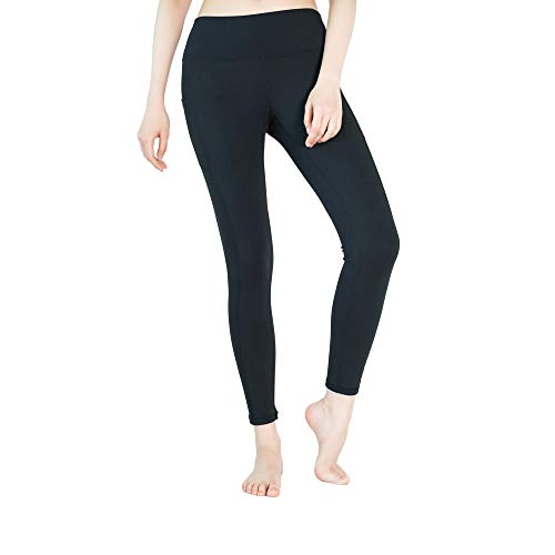Yveser Sporthose Damen Yogahose Laufhose Fitnesshose Yoga Sport Leggings tights für Damen mit Taschen Yoga1 (Schwarz, M)