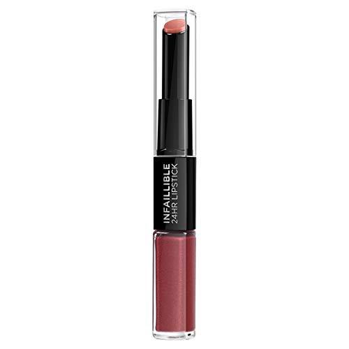 L'Oreal Paris Lippen Make-up Infaillible Lippenstift 507 Relentless Rouge/Liquid Lipstick für 24 Stunden volle Lippen mit feuchtigkeitsspendendem Lippenpflege - Balsam 1er Pack