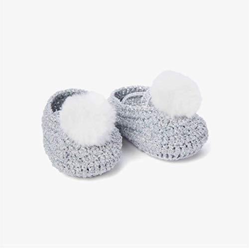 Elegant Baby Crochet Metallic Pom Booties