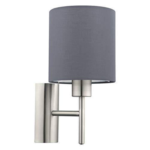 EGLO Wandlampe Pasteri, 1 flammige Textil Wandleuchte, Material: Stahl, Stoff, Farbe: nickel matt, grau, Fassung: E27, inkl. Schalter