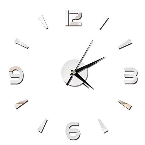 Liineparalle Moda acrílico Espejo Reloj de Pared Pegatina 3D Reloj Grande decoración DIY Pared Moderno hogar Dormitorio Oficina Sala decoración (Plata)
