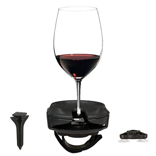 Veyikdg - Soporte para copas de vino al aire libre para copas de vino sin mango y tallo, para picnics, canotaje, caravanas, baño o jacuzzis, regalo de vino (negro)