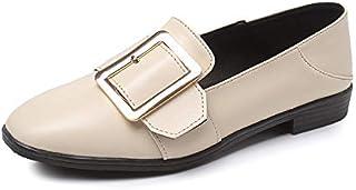 [MerryCo] レディース スリッポン 婦人靴 レザー ローファー フラットシューズ スクエアトゥ カジュアル フォーマル 痛くない 歩きやすい ベルト付き ストラップ付き クラシカル おじ靴 革靴 大きいサイズ