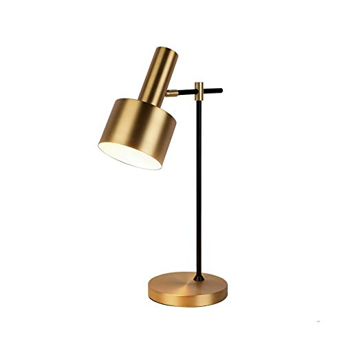 YWSZJ Lámparas de Mesa de latón de Metal para Dormitorio Lámpara de Escritorio Ajustable de ángulo de Cobre con luz de Mesa Minimalista Retro