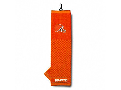 Team Golf NFL Cleveland Browns Embroidered Golf Towel, Checkered Scrubber Design, Embroidered Logo Cleveland Browns Nfl Pattern