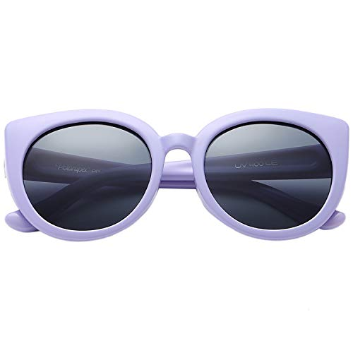 Polarspex Girls Elastic Cateye Toddler Polarized Kids Sunglasses - Ages 3-7 (Purple | Smoke)
