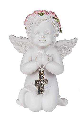 outoftheblue Knieender Engel mit rosafarbenen Rosenblütenkranz weiß Dekofigur Figur Grab Engelfigur Engelchen Schutzengel Glücksengel aus Kunststein